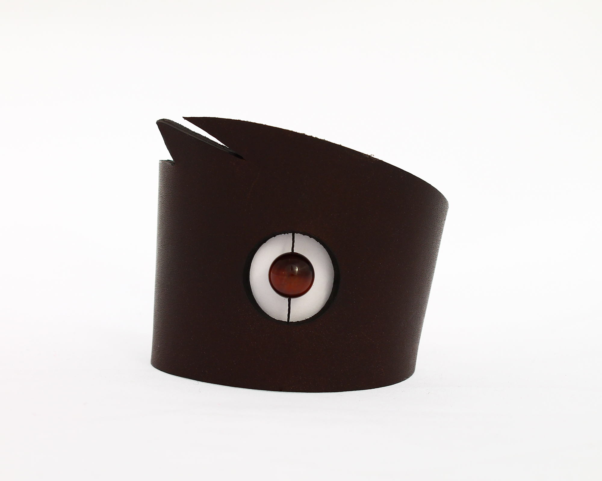 red tigers eye leather cuff bracelet