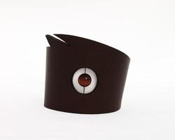 red tigers eye leather cuff bracelet