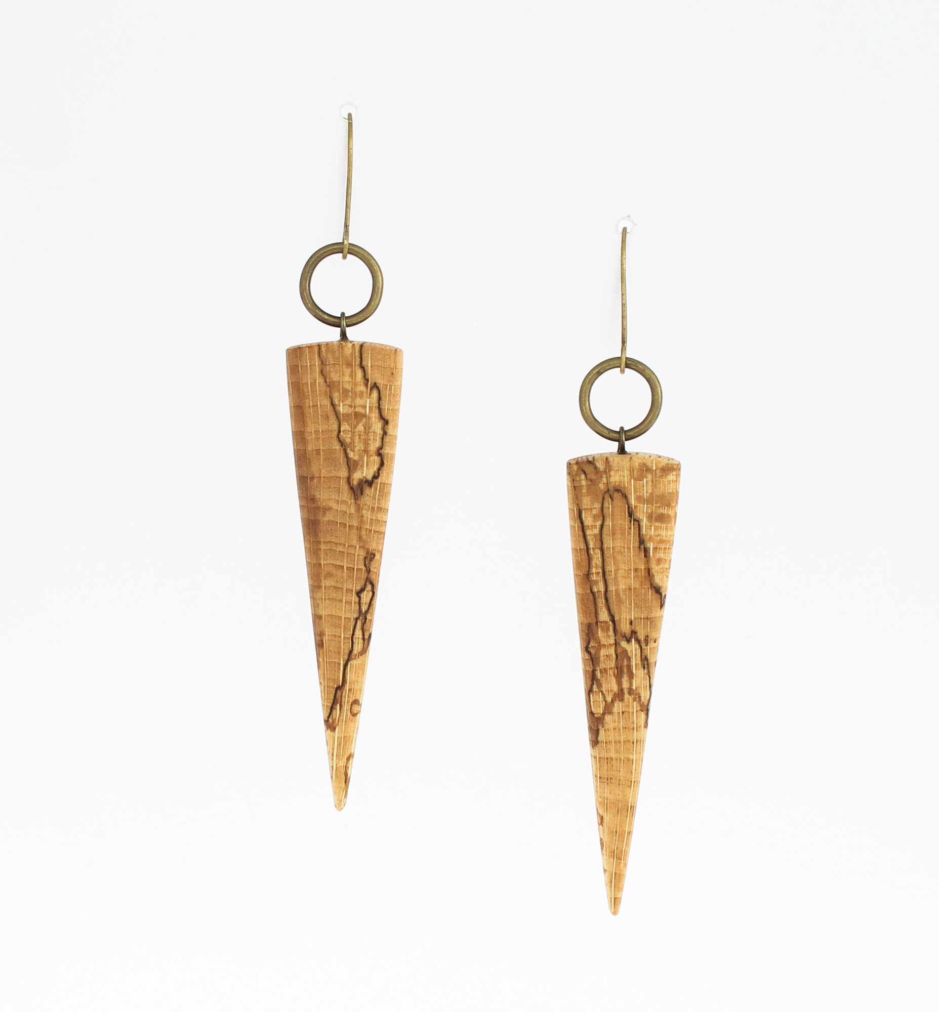 spalted beech brass earrings