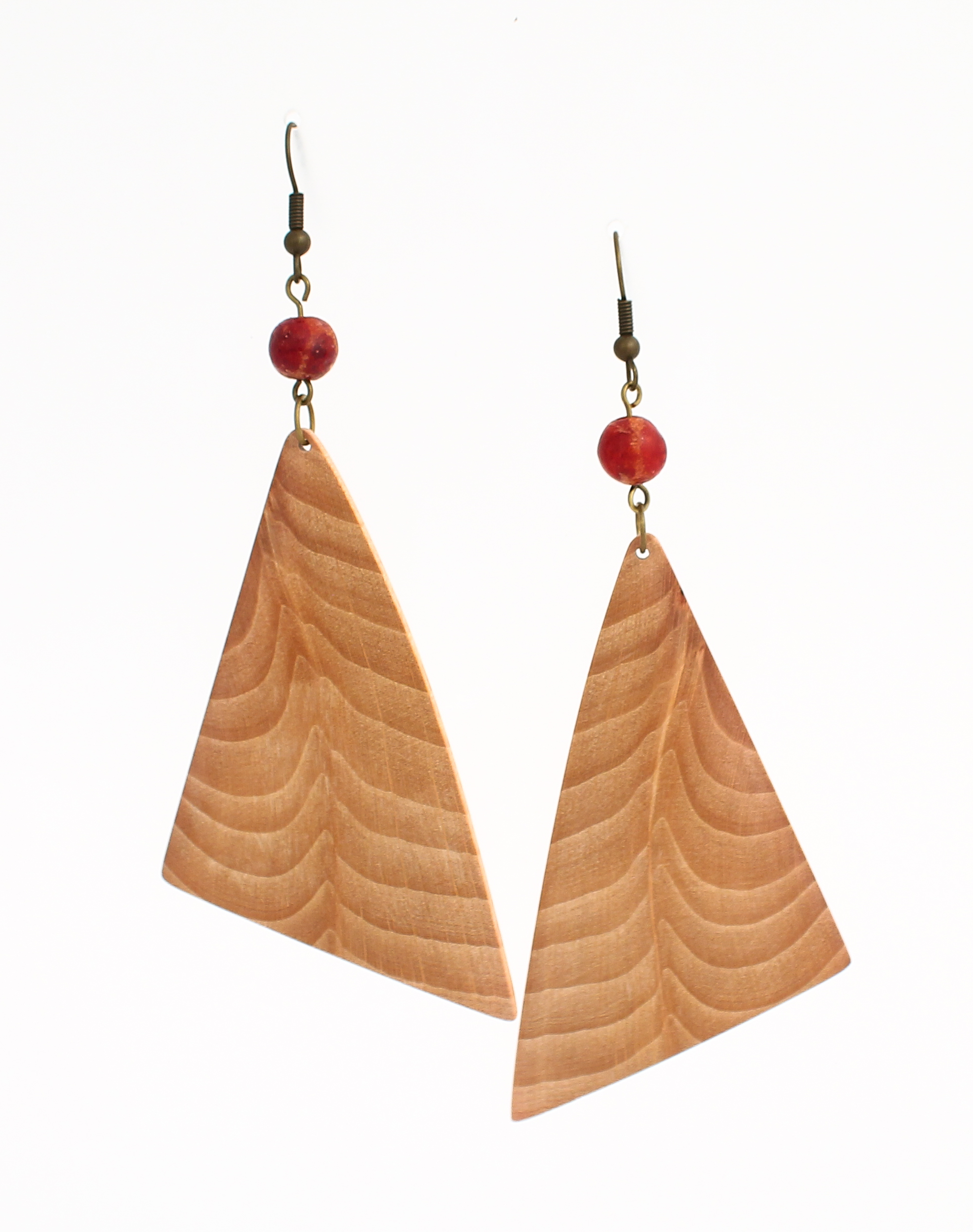 beech red coral earrings