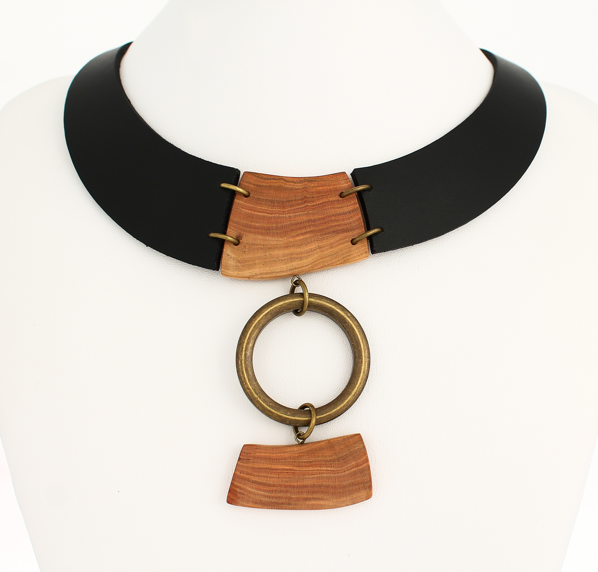 plum wood leather necklace