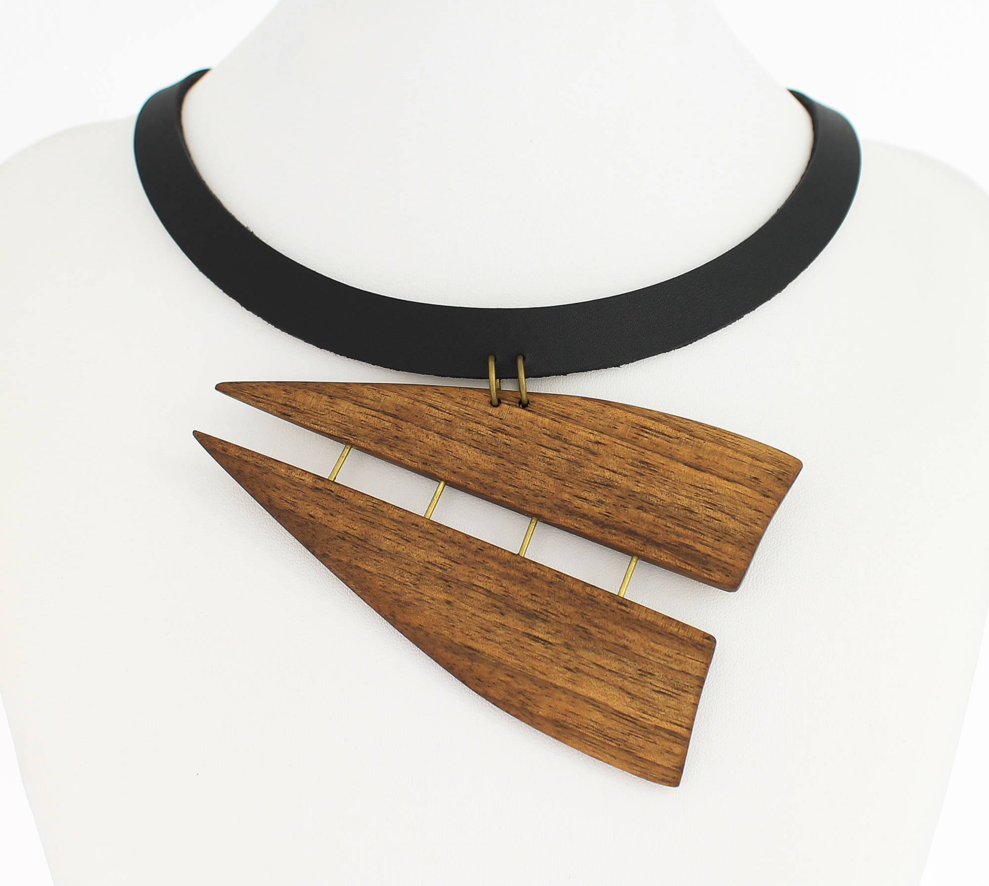 walnut leather necklace