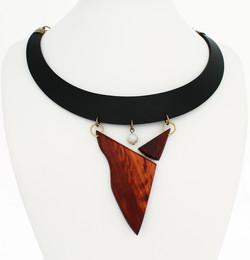 plum wood moonstone leather necklace