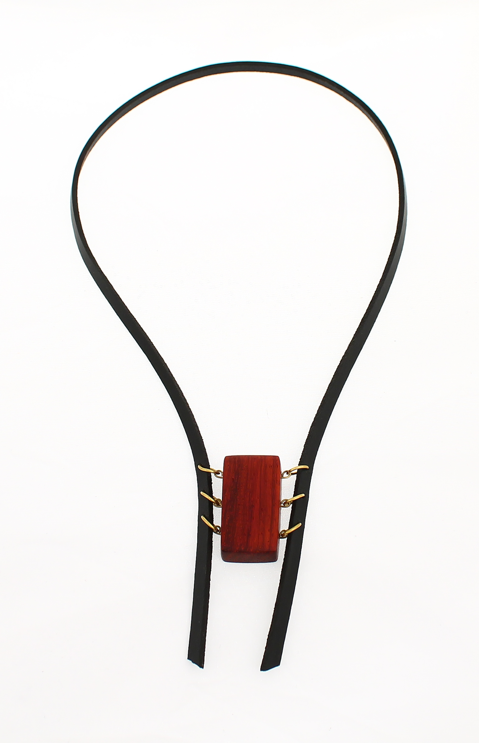 african padauk leather necklace