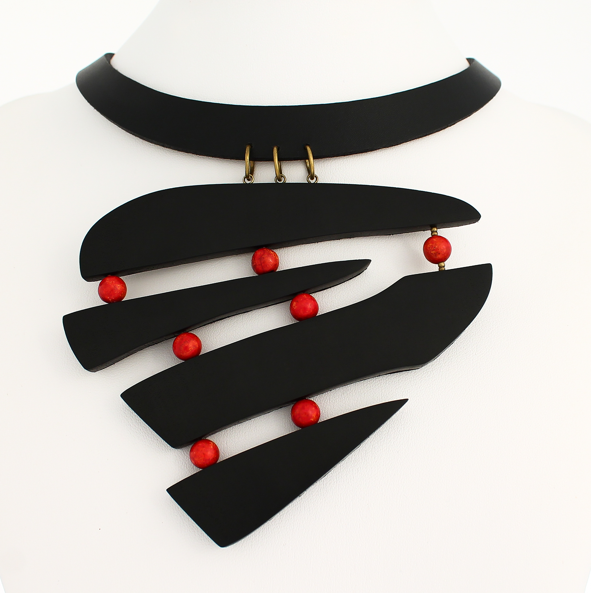 ebony red coral leather necklace