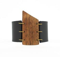 walnut leather cuff bracelet