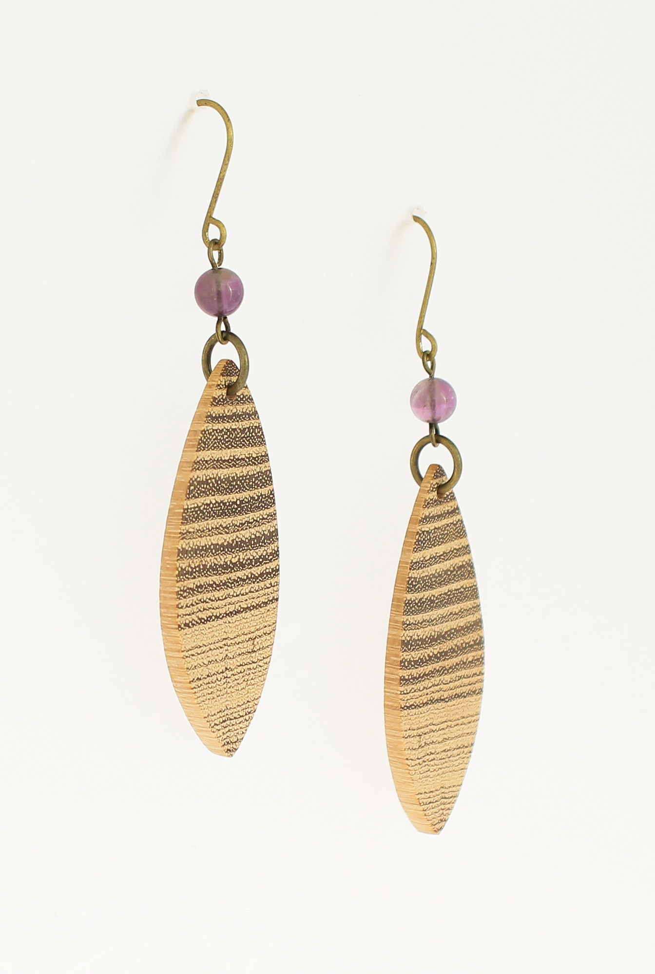 black locust amethyst earrings