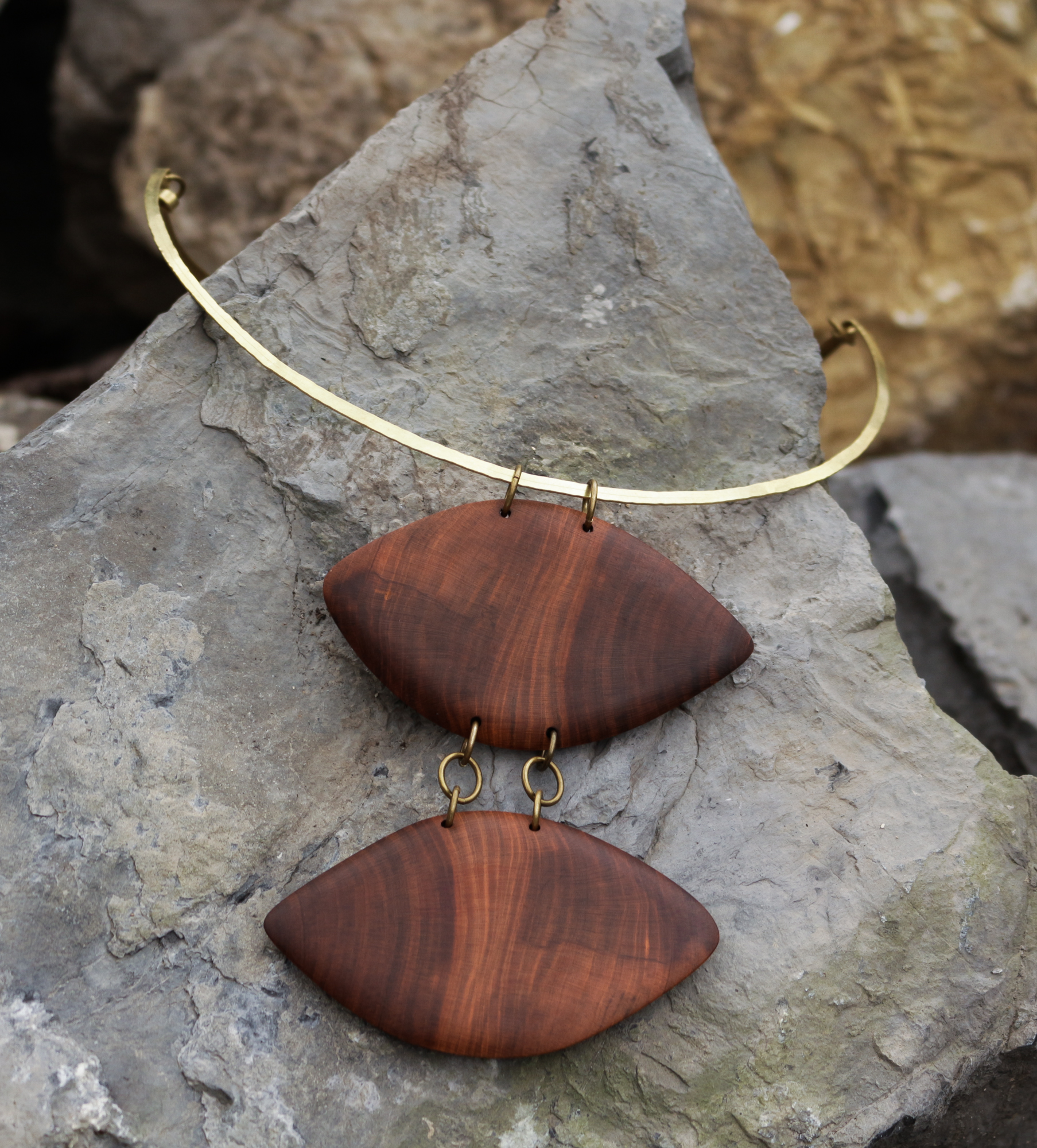 plum wood, brass necklace
