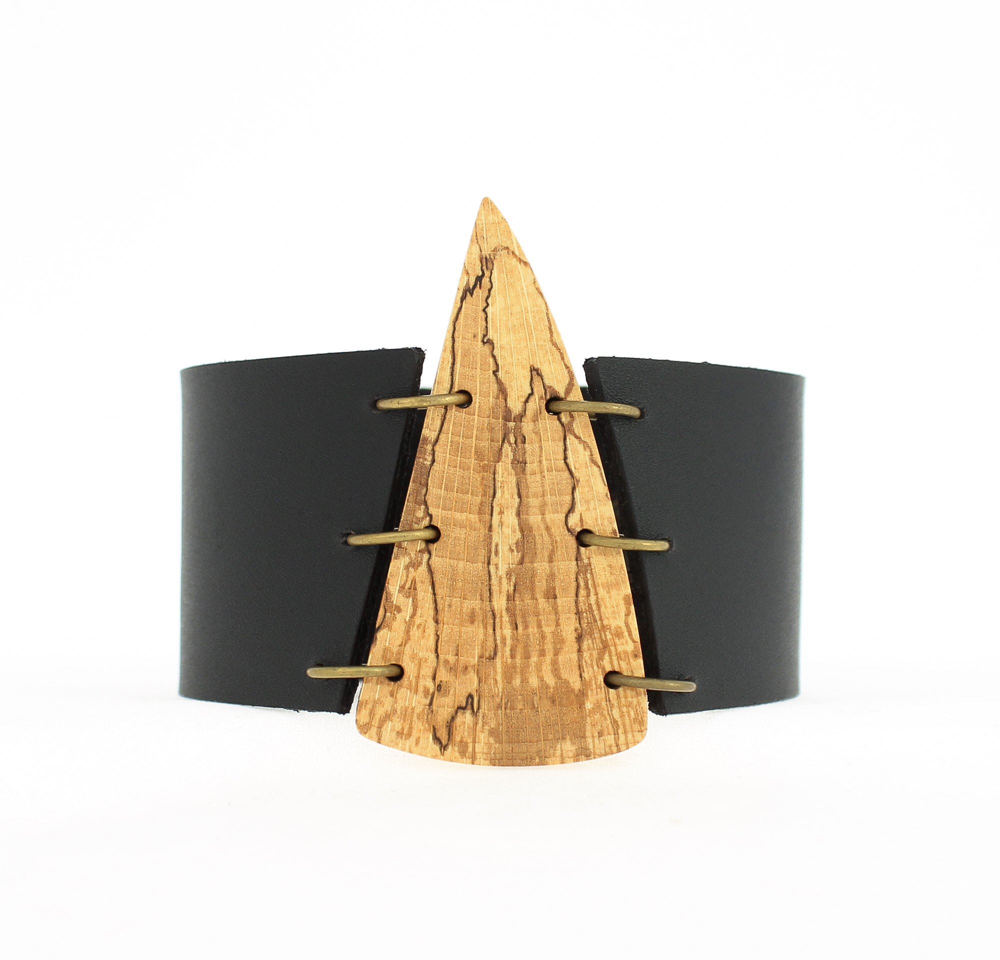 spalted beech leather cuff bracelet