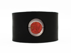 red coral leather cuff bracelet