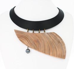 elm hematite leather necklace