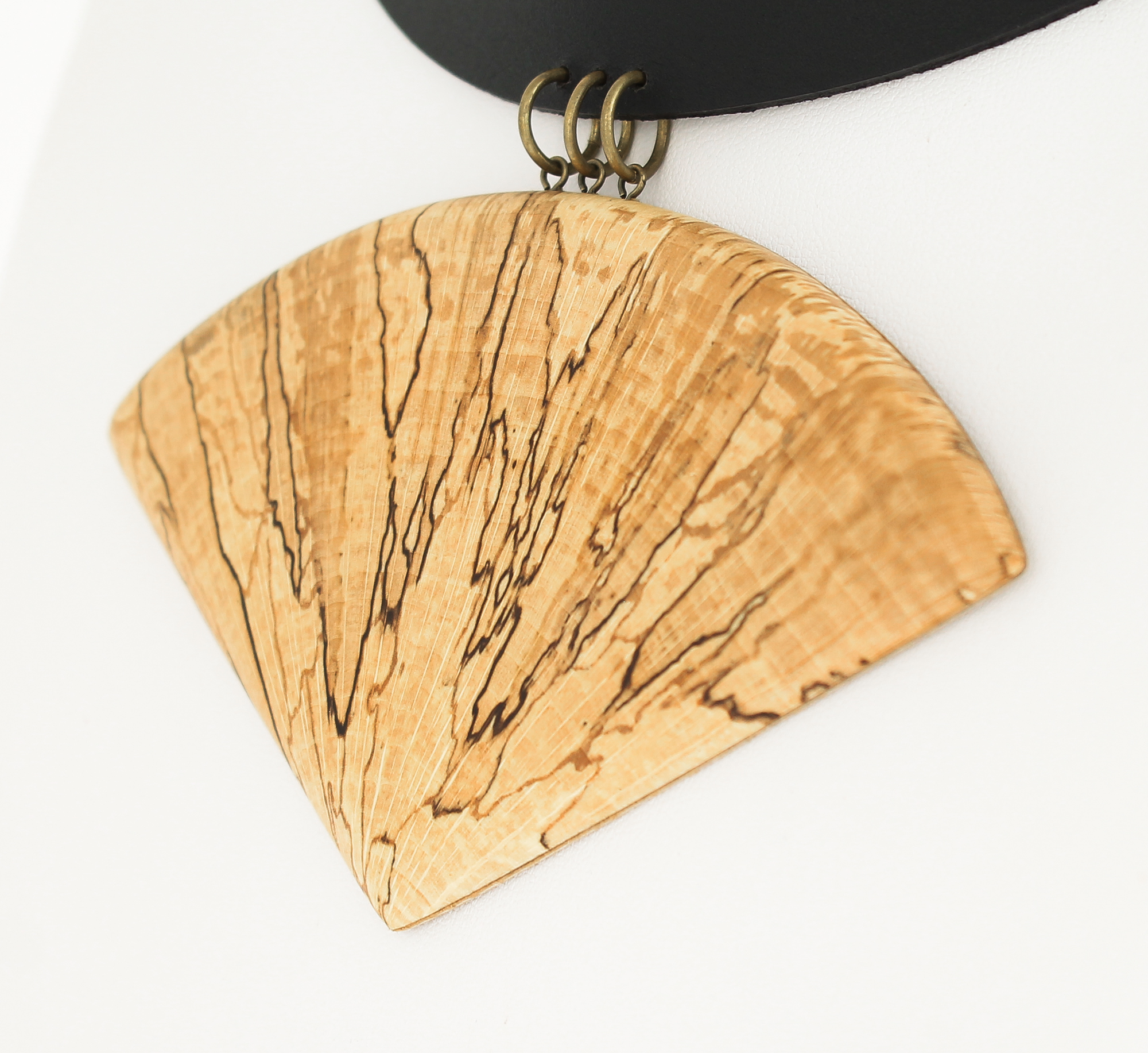 spalted beech leather necklace