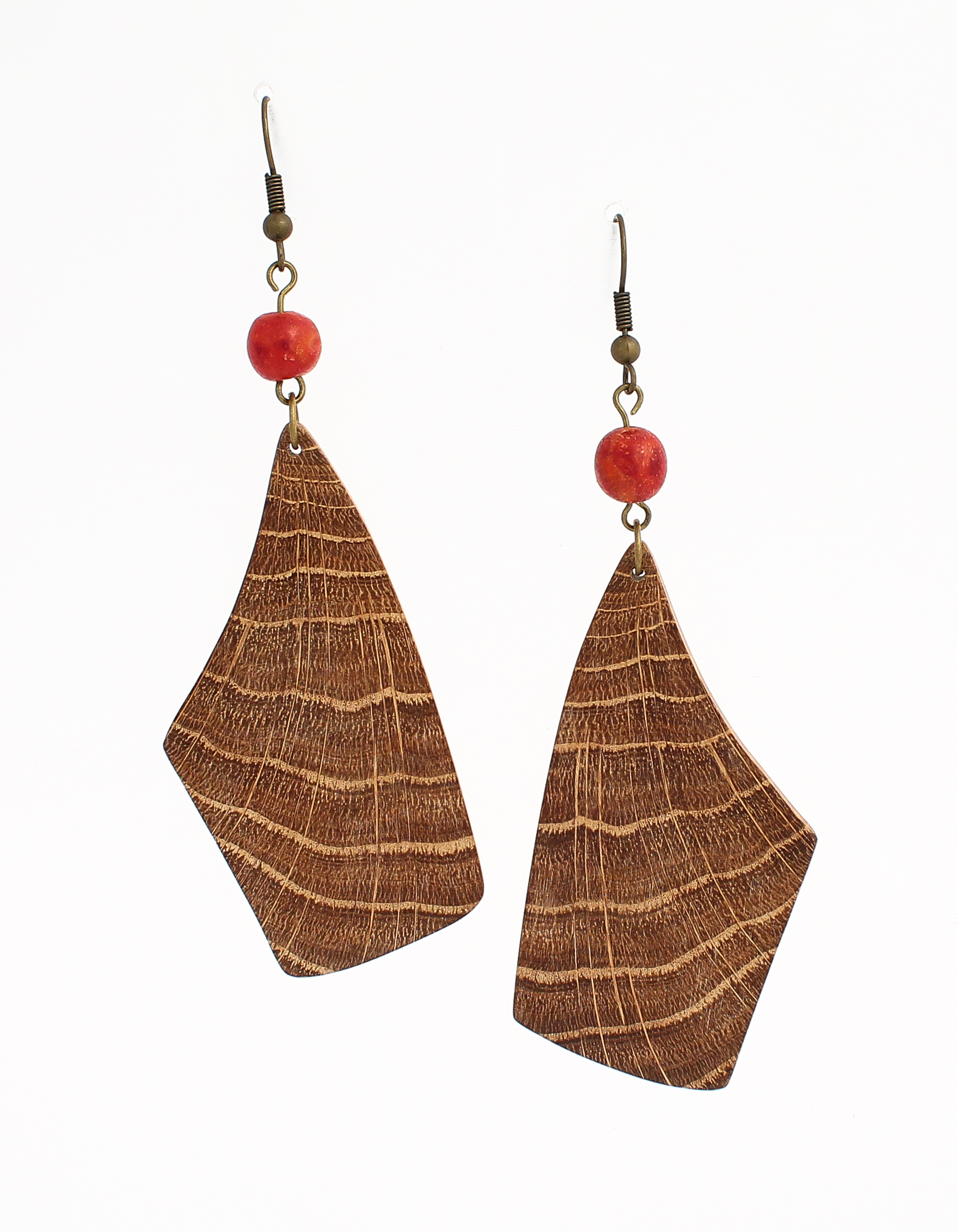 oak red coral earrings