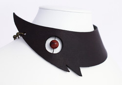 red tigers eye leather choker