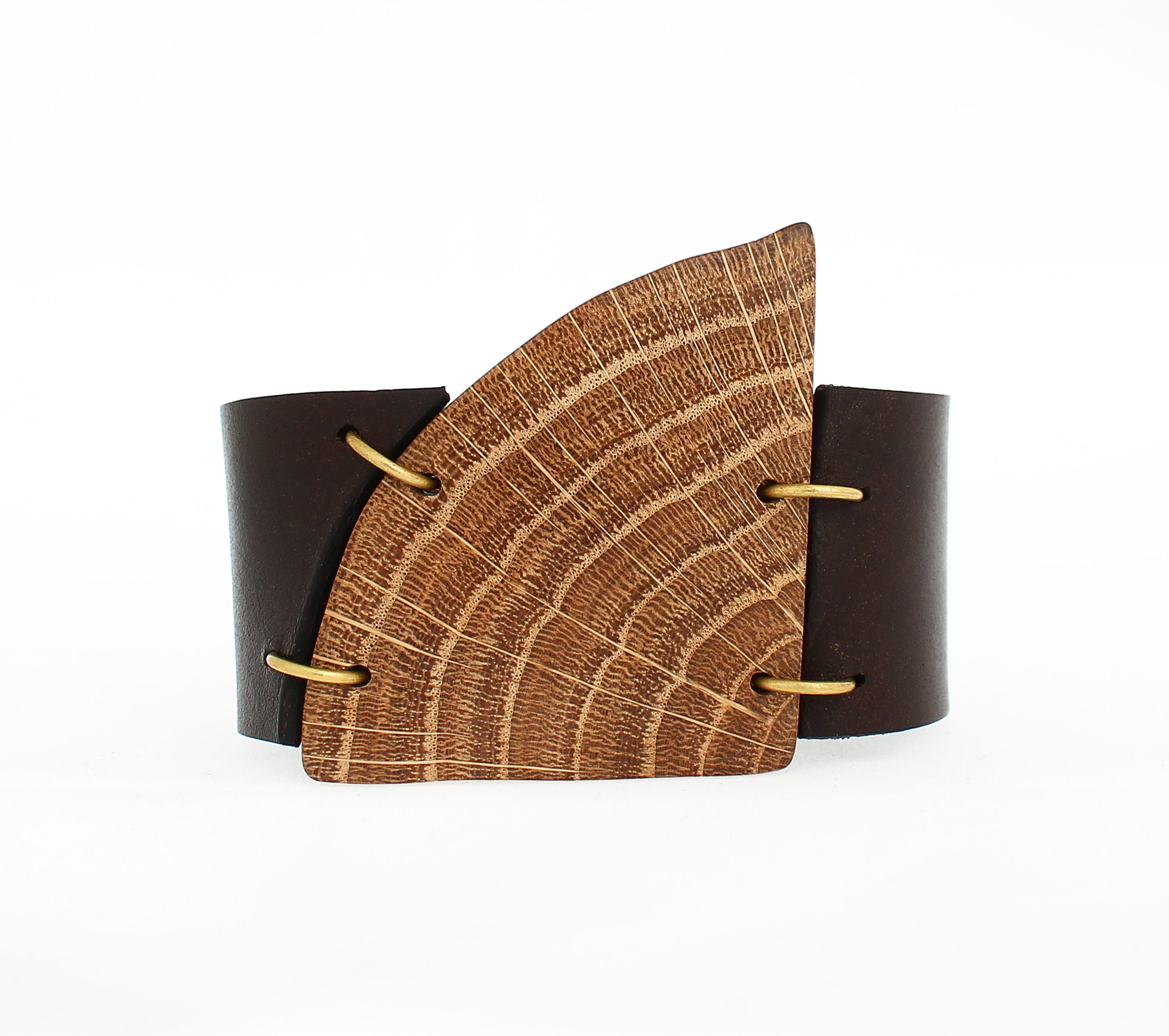 oak leather cuff bracelet