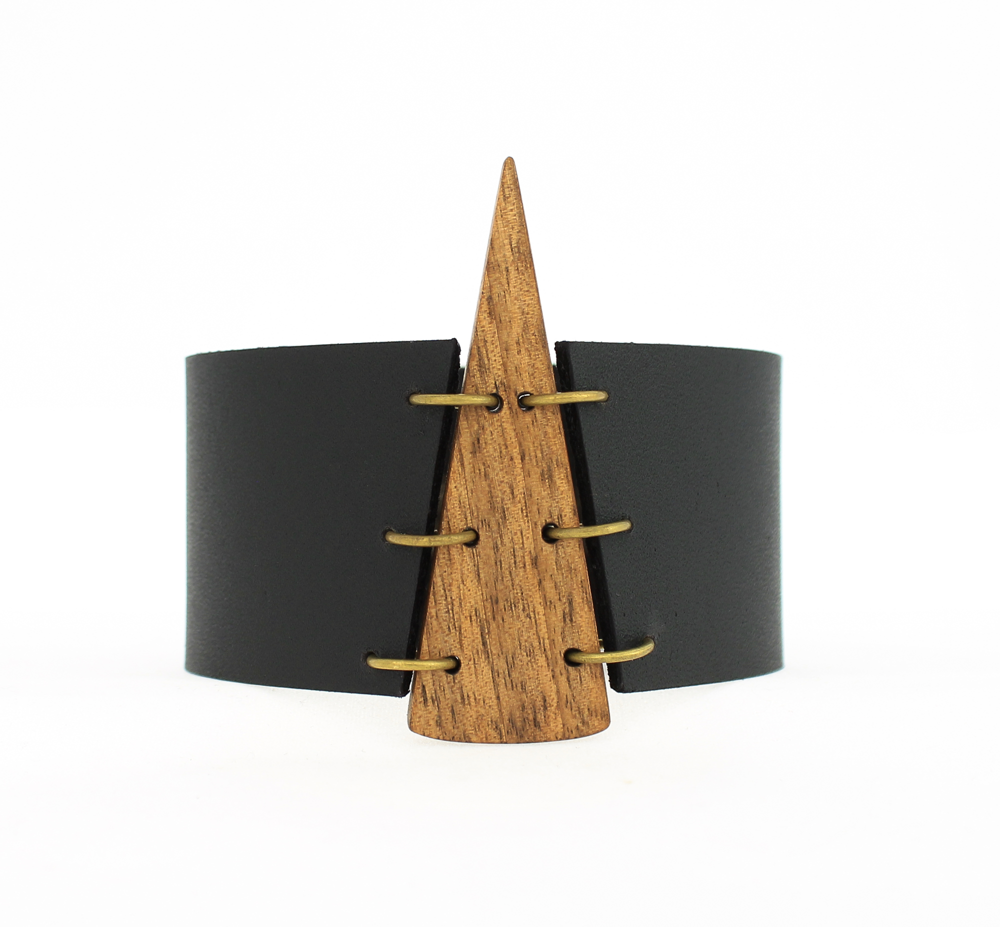 walnut leather cuff bracelet