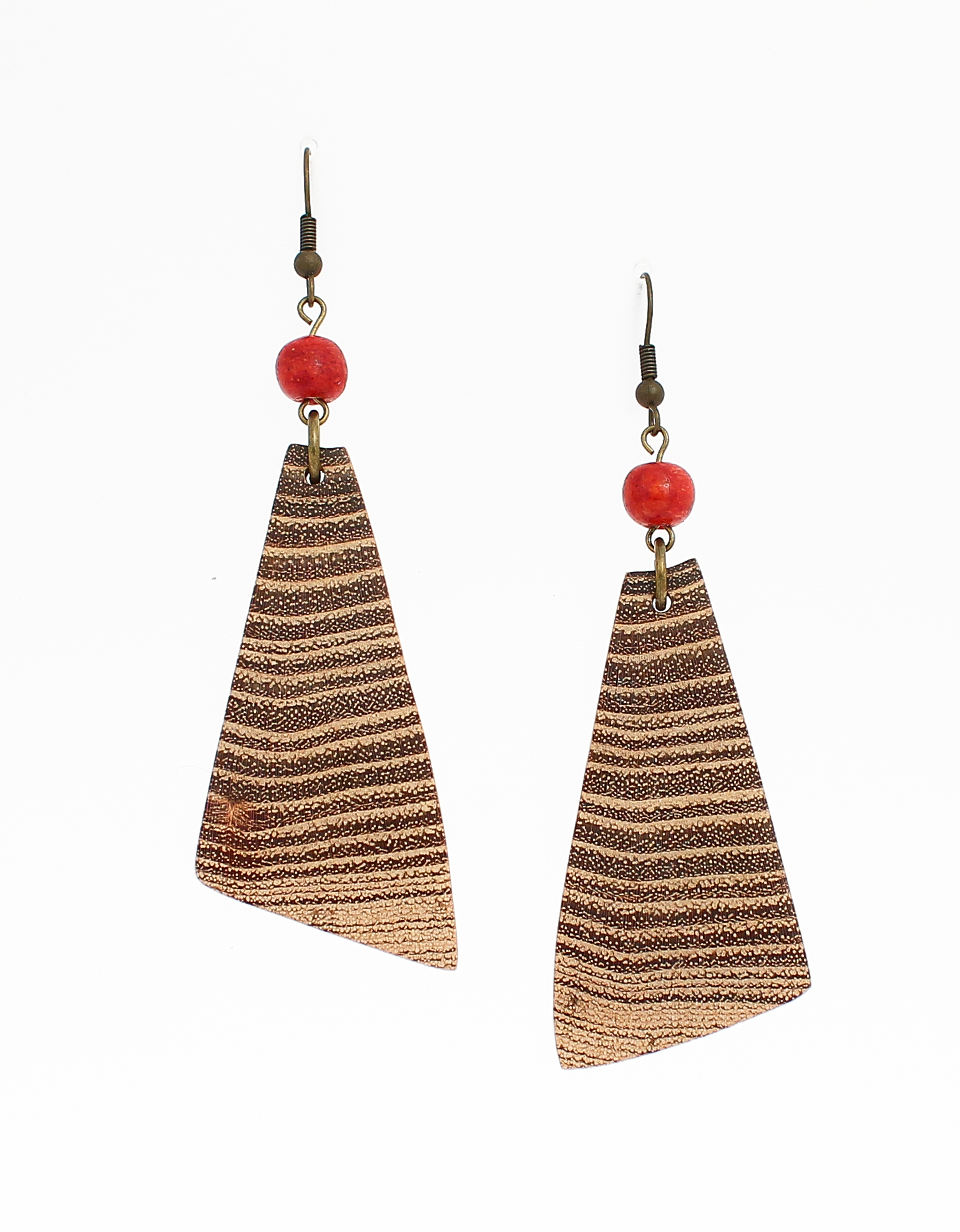 black locust red coral earrings