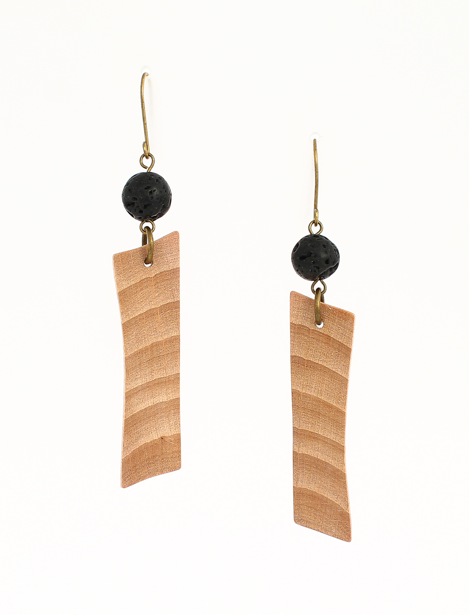 beech lava rock earrings