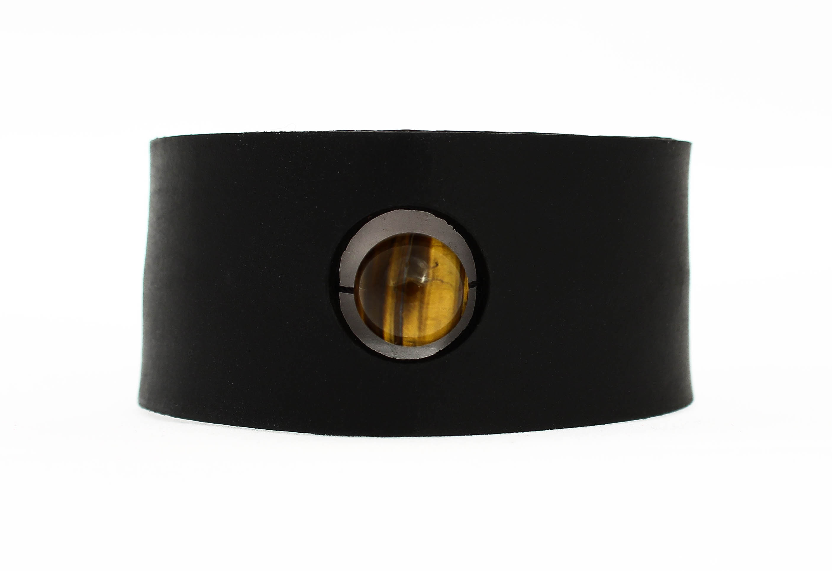 tigers eye leather cuff bracelet