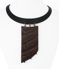 wenge hematite leather necklace