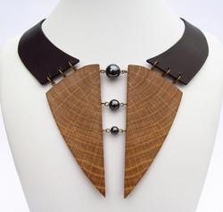 oak hematite leather necklace