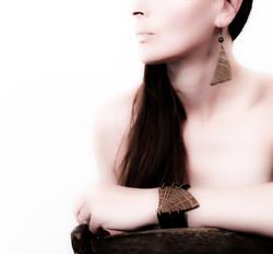 oak leather cuff bracelet