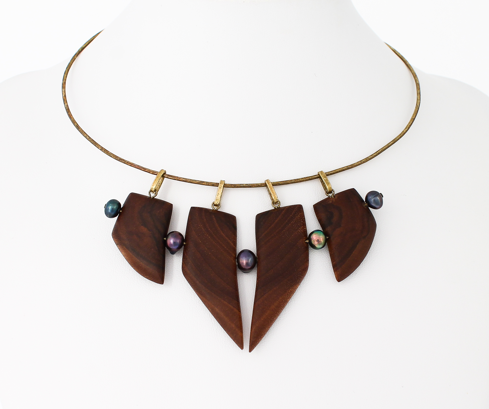 walnut, black pearls, brass necklace