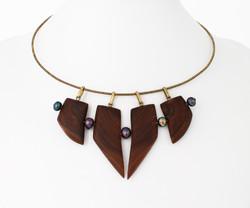 walnut, black pearls, brass necklace