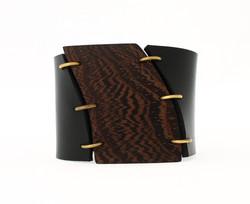 wenge leather cuff bracelet