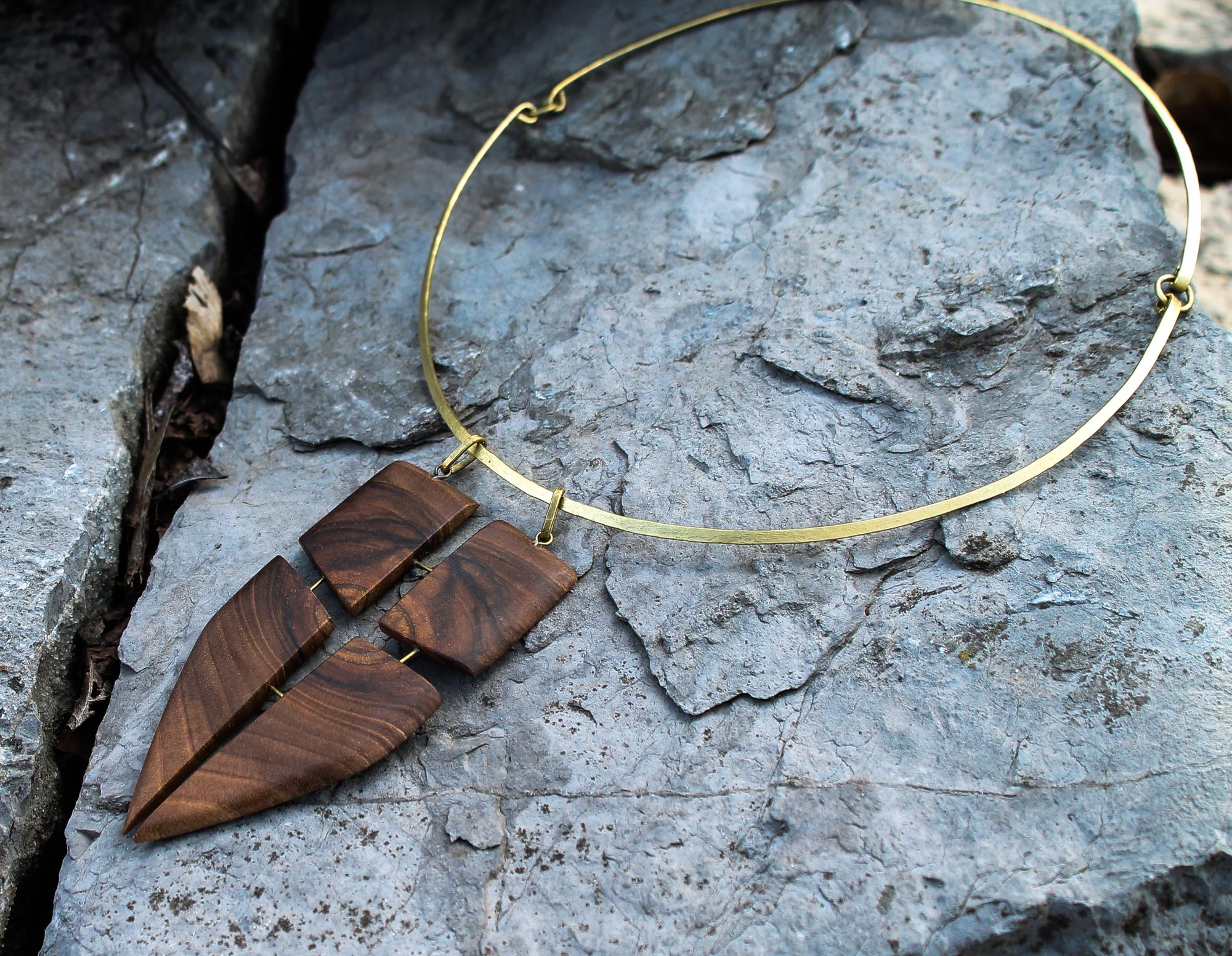 walnut, brass necklace