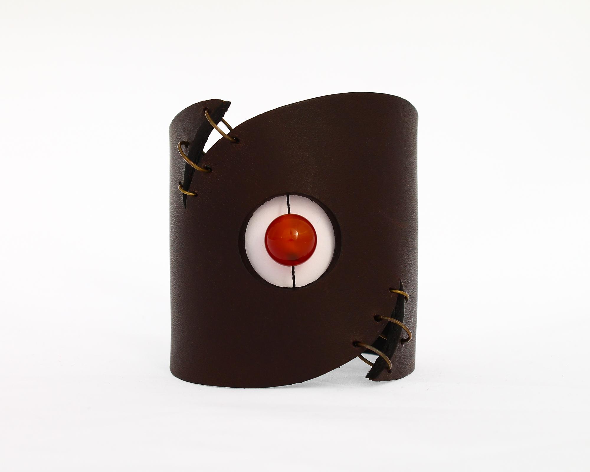 carnelian leather cuff bracelet