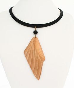 beech lava rock leather necklace