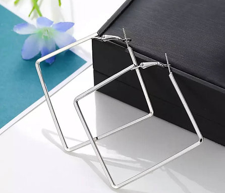 silver astro square hoop