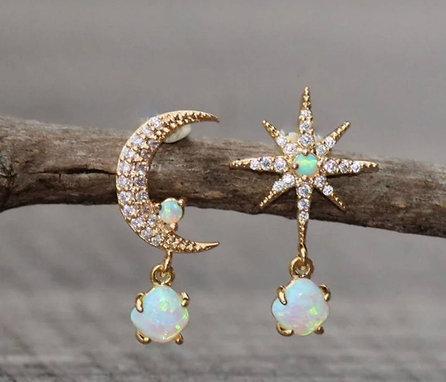 opal moon and star earrings