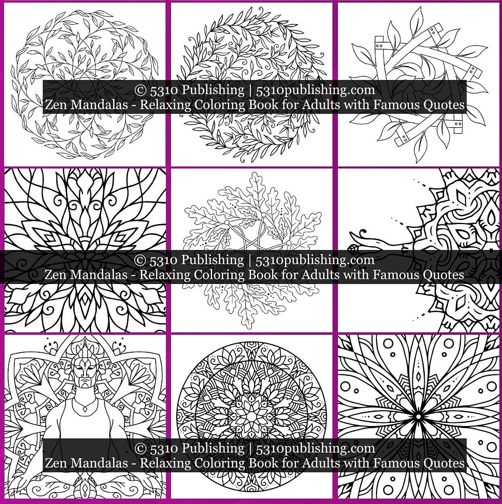 Zen Mandalas - Relaxing Coloring Book fo