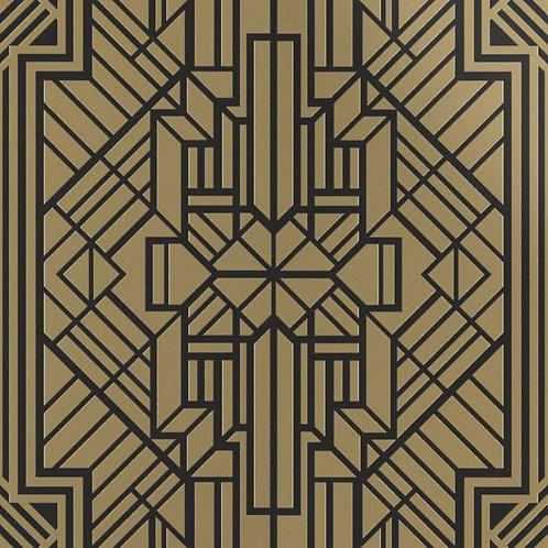 Керамогранит Labirinto ottone su fondo nero matt  60*60 см