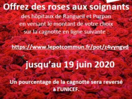 Offrez des roses aux soignants
