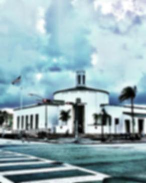 miamibeach post office Washington Avenue Florida usa #unitedstate sky cloud american flag palm empty street blue
