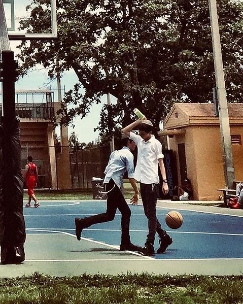 jewish kids playing basket ball kippa water red basket ball player ball tree