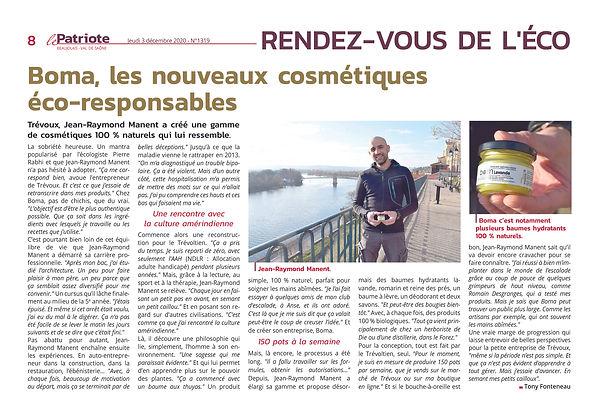 Article BOMA Le Patriote 03-12-20 copie.jpg