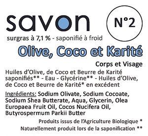 Savon N°2 Olive - Coco - Karité