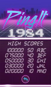 PingIt 1984 Screenshot High Scores Screen