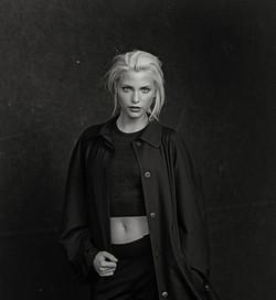 Nadja Auermann on black background