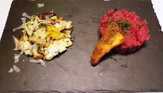 Battuta di Carne Piemontese  con Insalata di Funghi Porcini crudi