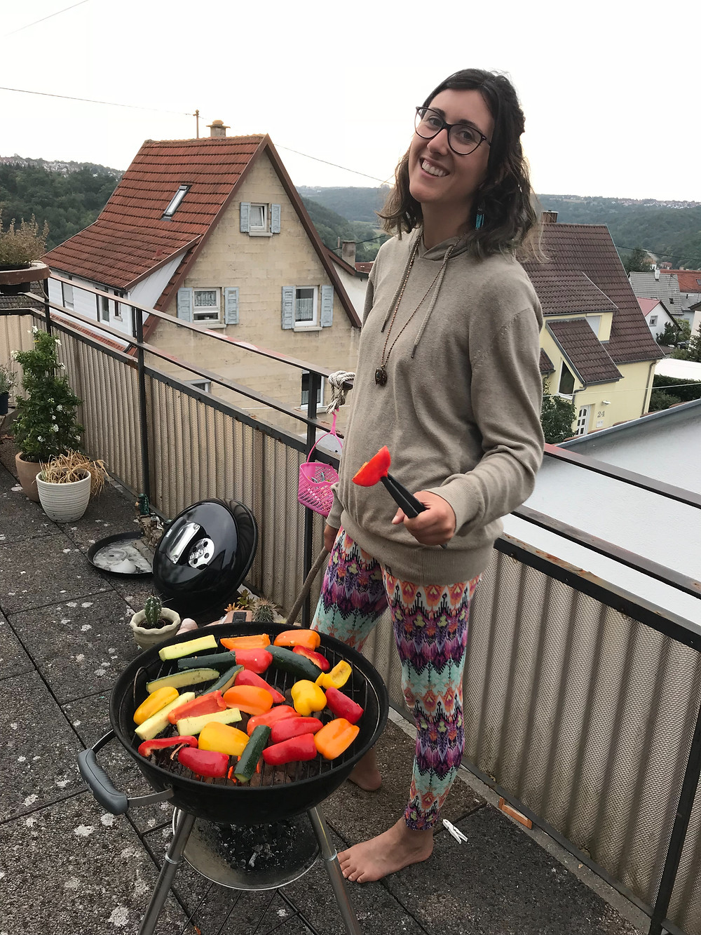 Vegetable Barbecue on a terrace in Germany.