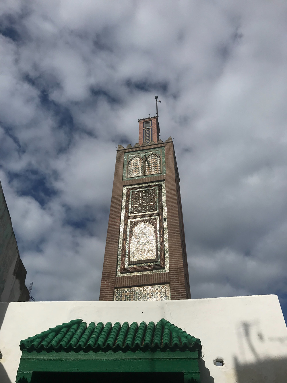 Beautiful mosaic on Mosque tower in Tangier