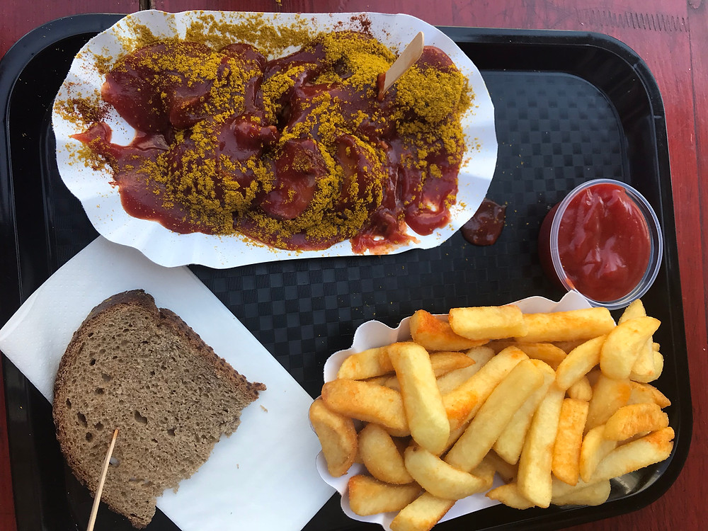 Vegan currywurst and french fries from MyCurrywurst in Heidelberg, Germany.