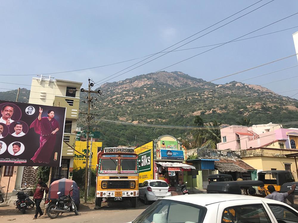 Arunachala holy mountain in Tiruvanamali.
