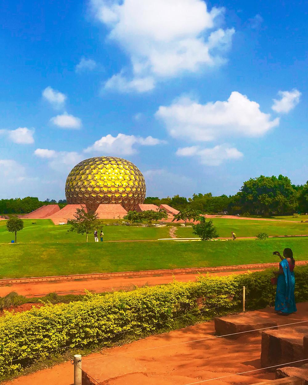 Matrimandir Temple in Auroville, Tamil Nadu, India.