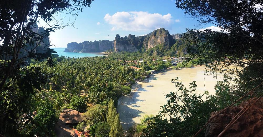 View from the lagoon at Railay Beach cliffs